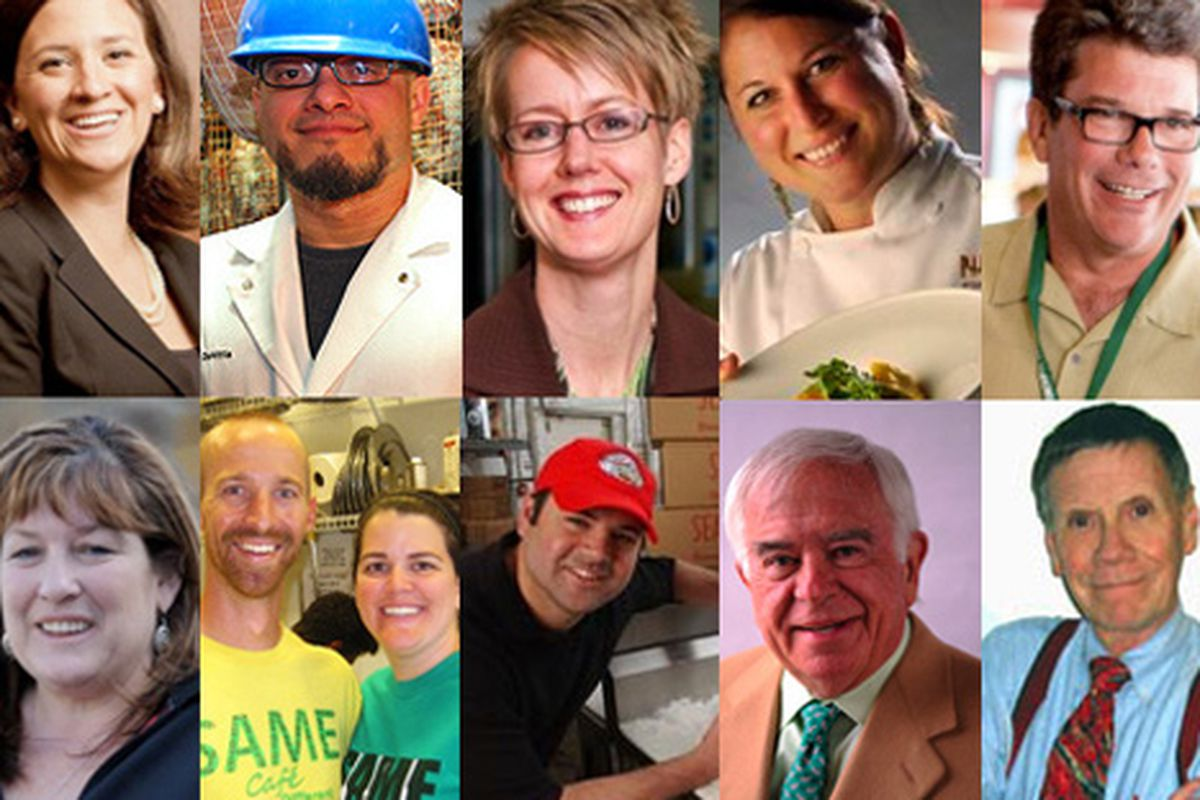 From top left: Jessica Doerffel (Elway's), Mark DeNittis (Il Mondo Vecchio), Erin Pulling (Project Angel Heart), Elise Wiggins (Panzano), Brian Nolan (Group 970), Liz Wahl (Steamboat Ski & Resort Corp.); From bottom left: Brad and Libby Birky (S