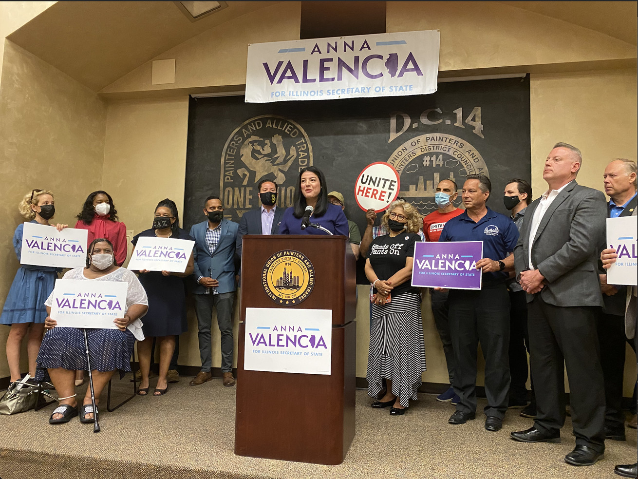 Chicago City Clerk Anna Valencia announces her run for Illinois secretary of state Monday.