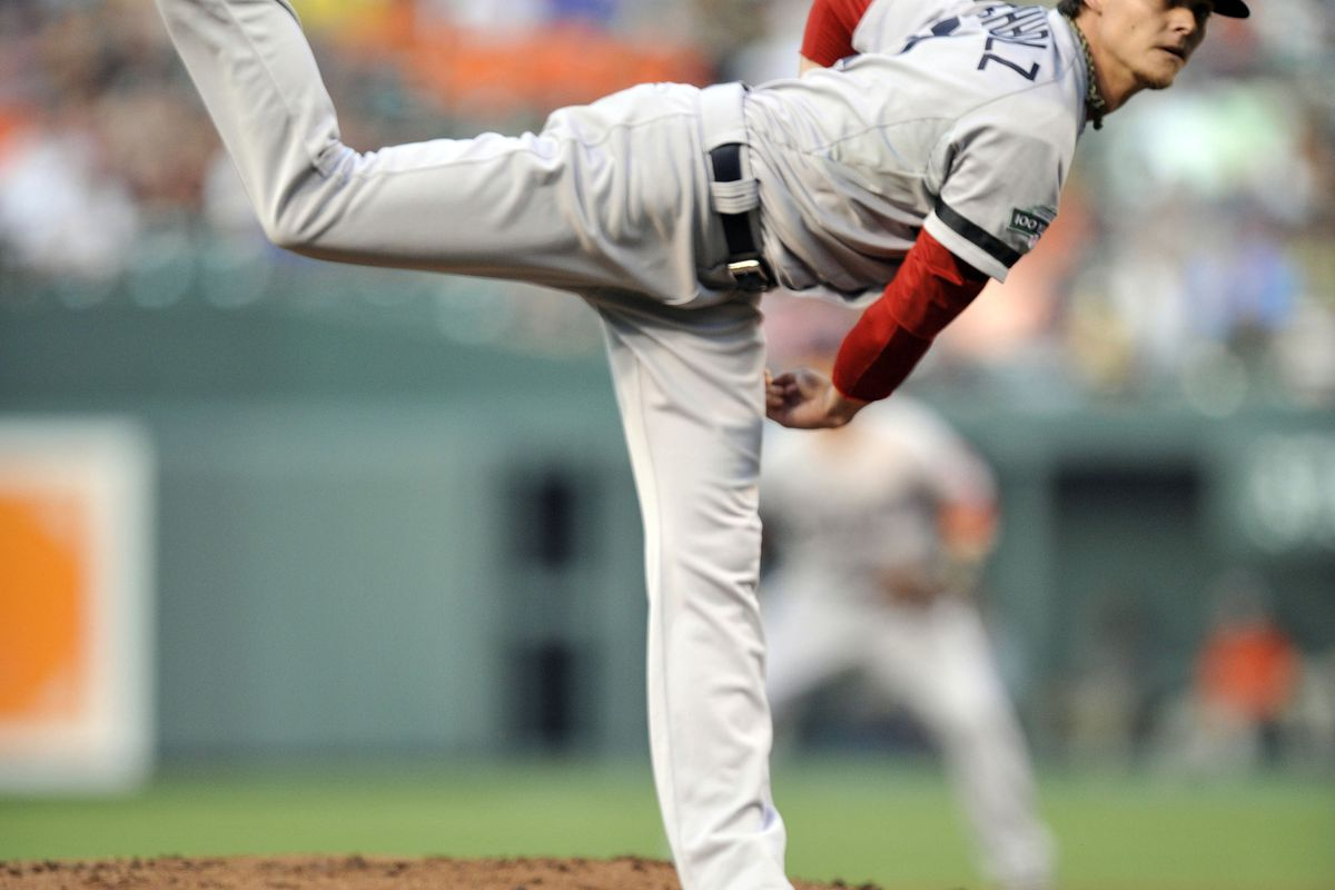 August 16, 2012; Baltimore, MD, USA; Boston Red Sox starting pitcher Clay Buchholz (11) pitches in the first inning against the Baltimore Orioles at Oriole Park at Camden Yards. Mandatory Credit: Joy R. Absalon-US PRESSWIRE