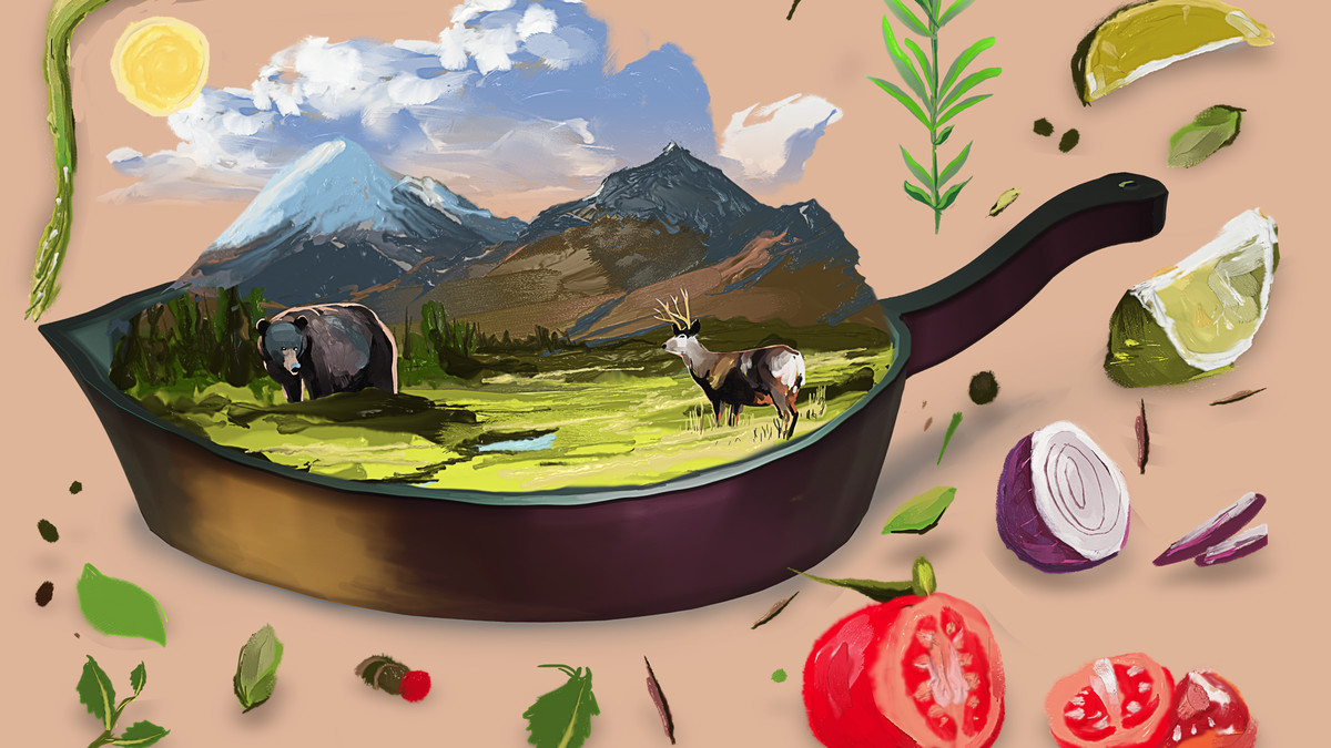 A grassy plain with a buck sits inside a cast-iron pan.