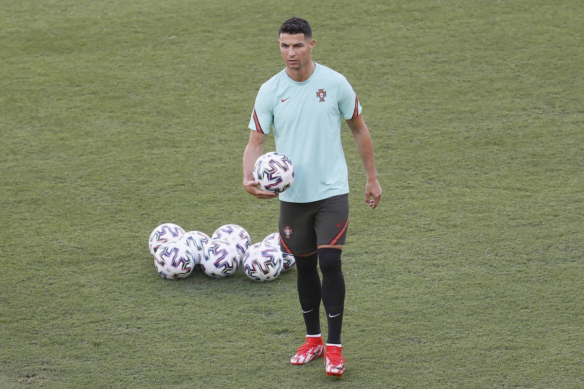 Cristiano Ronaldo of Portugal looks on during the Portugal Training Session ahead of the UEFA Euro 2020 Round of 16 match between Portugal and Belgium at Estadio La Cartuja on June 26, 2021 in Seville, Spain.