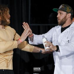 Tom Lawlor has fun at the Liddell vs. Ortiz 3 ceremonial weigh-ins in Inglewood, Calif.