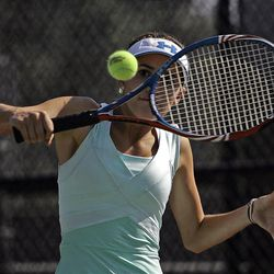 Kaitlin Ramsey of Rowland Hall competes against Janell Starr of Richfield (not pictured) in the State 2A Tennis second seed singles tournament at Liberty Park in Salt Lake City Saturday, Sept. 29, 2012.