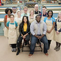 """""""On your marks, get set, bake!"""" The 10 contestants on the third season of """"The Great American Baking Show"""" include Utahn Bryan McKinnon, center. The contestants and hosts include Vallery Lomas, left, Cindy Maliniak, Hector De Haro, Jessie Salzbrun, co-host Ayesha Curry, JC Gregg, Bryan Mckinnon, Father Kyle Schnippel, co-host Anthony """"Spice"""" Adams, Nick Bryan, Antwine Love and Molly Brodak.  As part of """"25 Days of Christmas,"""" the festive and friendliest competition on television is back when season three of """"The Great American Baking Show"""" (formerly """"The Great Holiday Baking Show"""") premiered with slices of cake and delicious morning treats, on Thursday, Dec. 7 on ABC."""