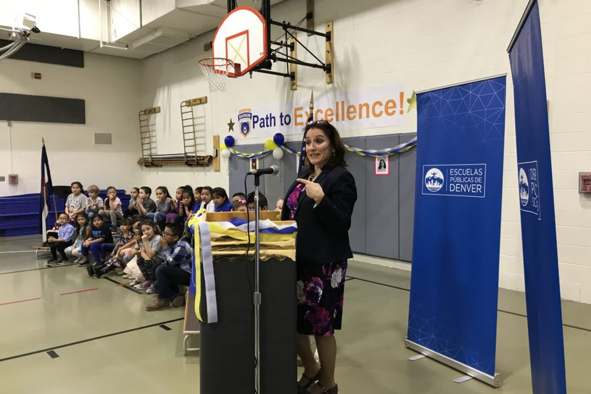 Susana Cordova addresses students at Barnum Elementary School on Jan. 7, her first day as Denver superintendent.