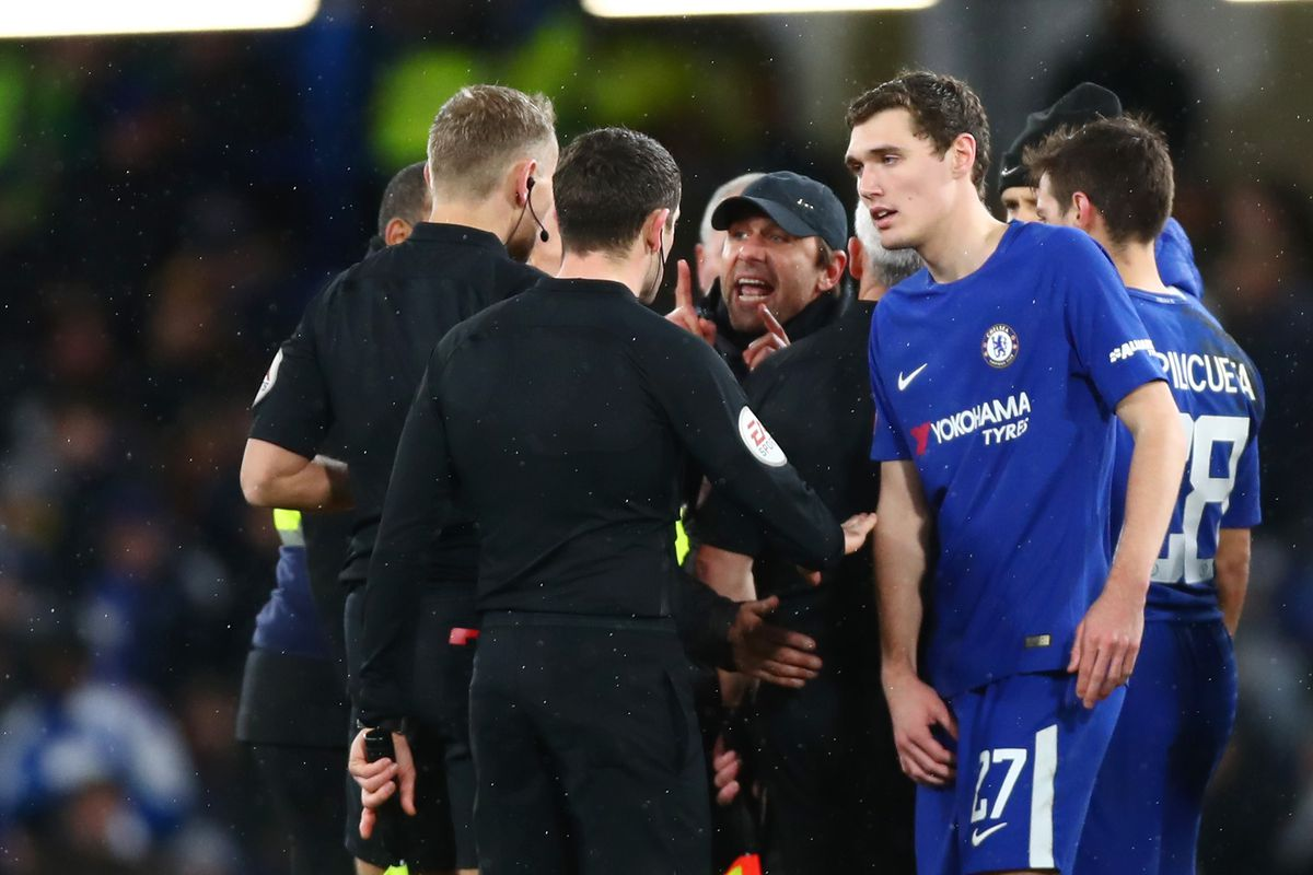 Conte reacts angrily to Chelsea reds cards; VAR mistake in cup win