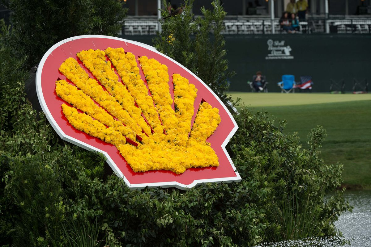 Flowers in the shape of an oil company logo.