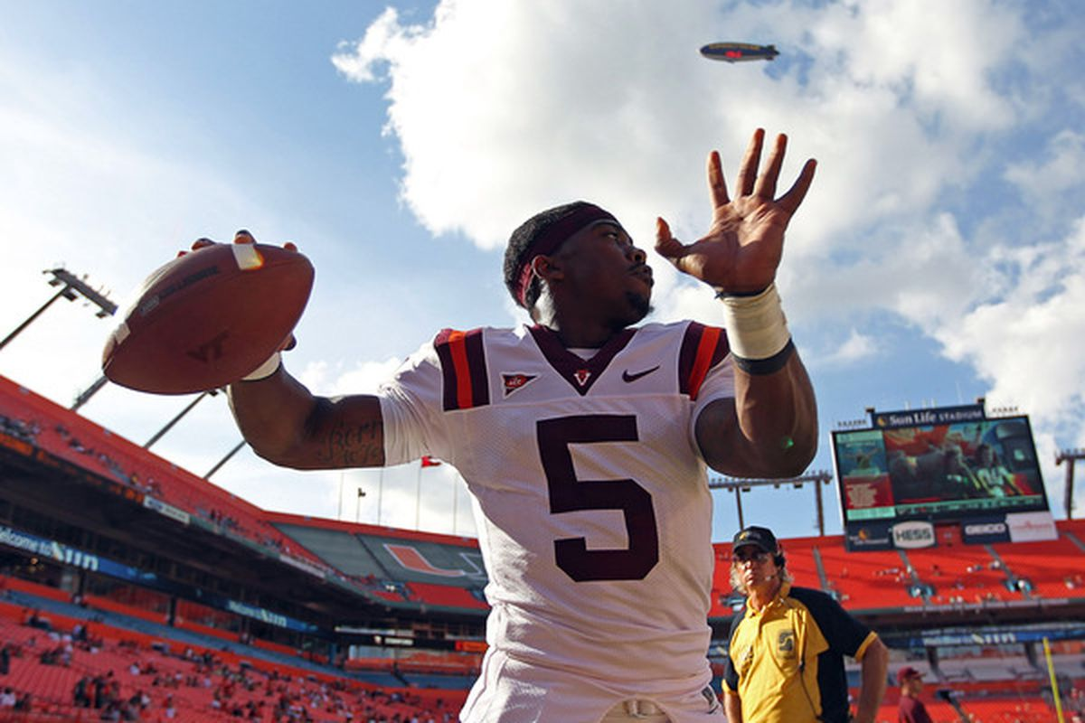 MIAMI - NOVEMBER 20:  Tyrod Taylor #5 of the Virginia Tech Hokies warms up during a game against the Miami Hurricanes at Sun Life Stadium on November 20 2010 in Miami Florida.  (Photo by Mike Ehrmann/Getty Images)