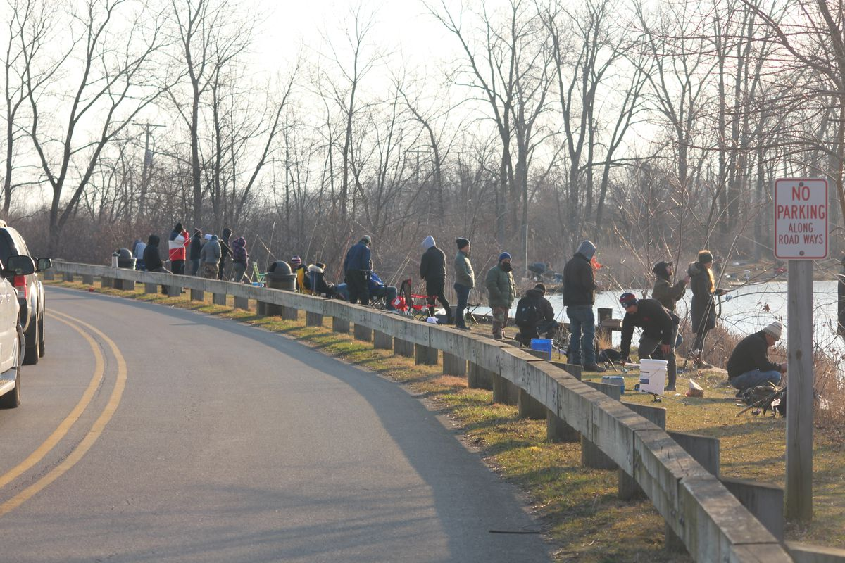 Crowd at Sand Lake for trout fishing. Photo provided by Eddie Pasiewicz
