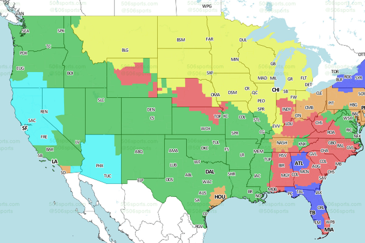 ErsCardinals TV Schedule Broadcast Maps In The US - Phoenix arizona on us map