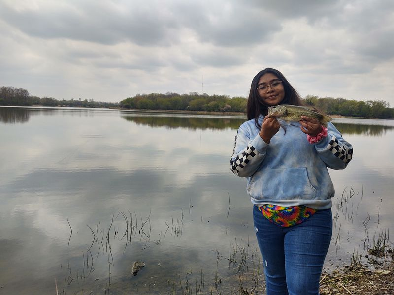 Jelainie Gutierez with a largemouth bass from Busse. Provided by Rob Abouchar