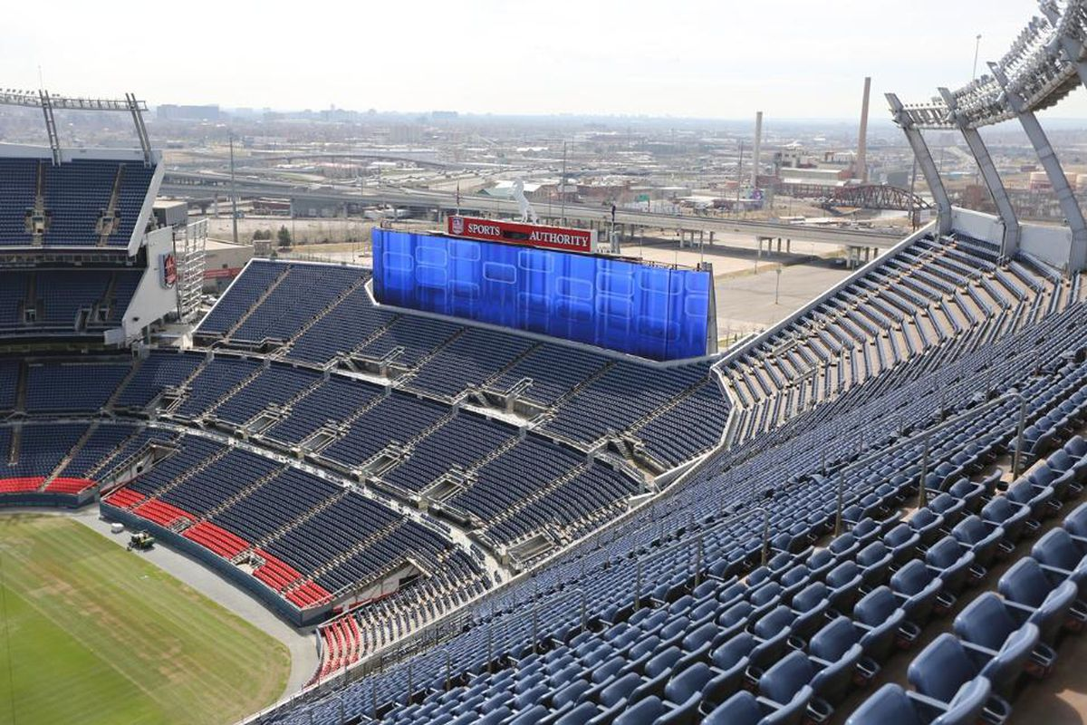 New scoreboard at Sports Authority Field at Mile High