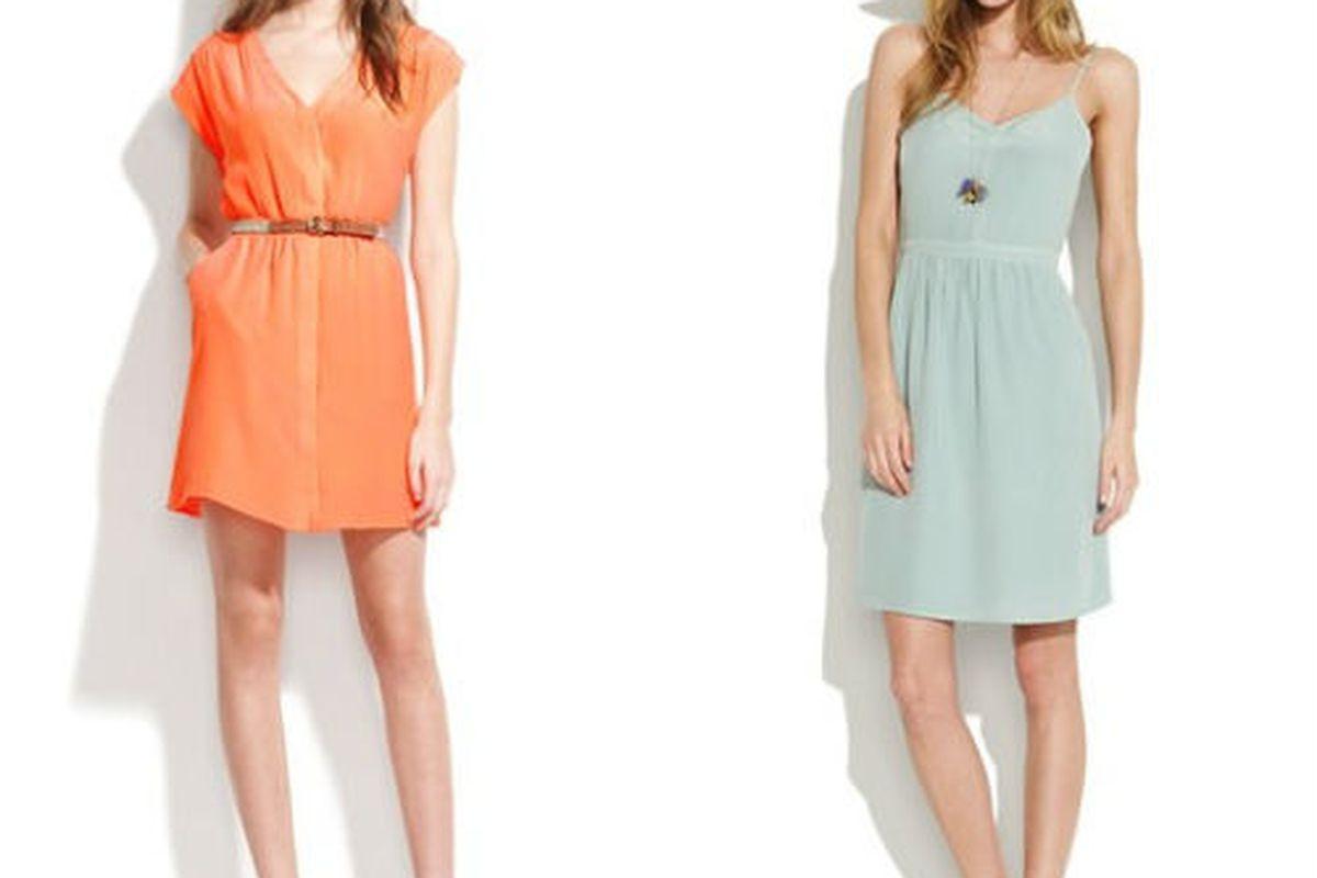 """<a href=""""http://www.madewell.com/newarrivals/20offsunshinereadystyles/PRDOVR~70908/70908.jsp"""">Silk neosun sundress</a>, $120 (was $150) and <a href=""""http://www.madewell.com/newarrivals/20offsunshinereadystyles/PRDOVR~85459/85459.jsp"""">Silk cami dress"""