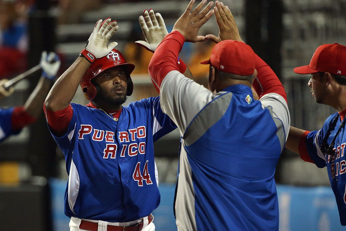 Anthony Garcia is congratulated after homering for Puerto Rico in the Pan-Am games in Toronto this year.