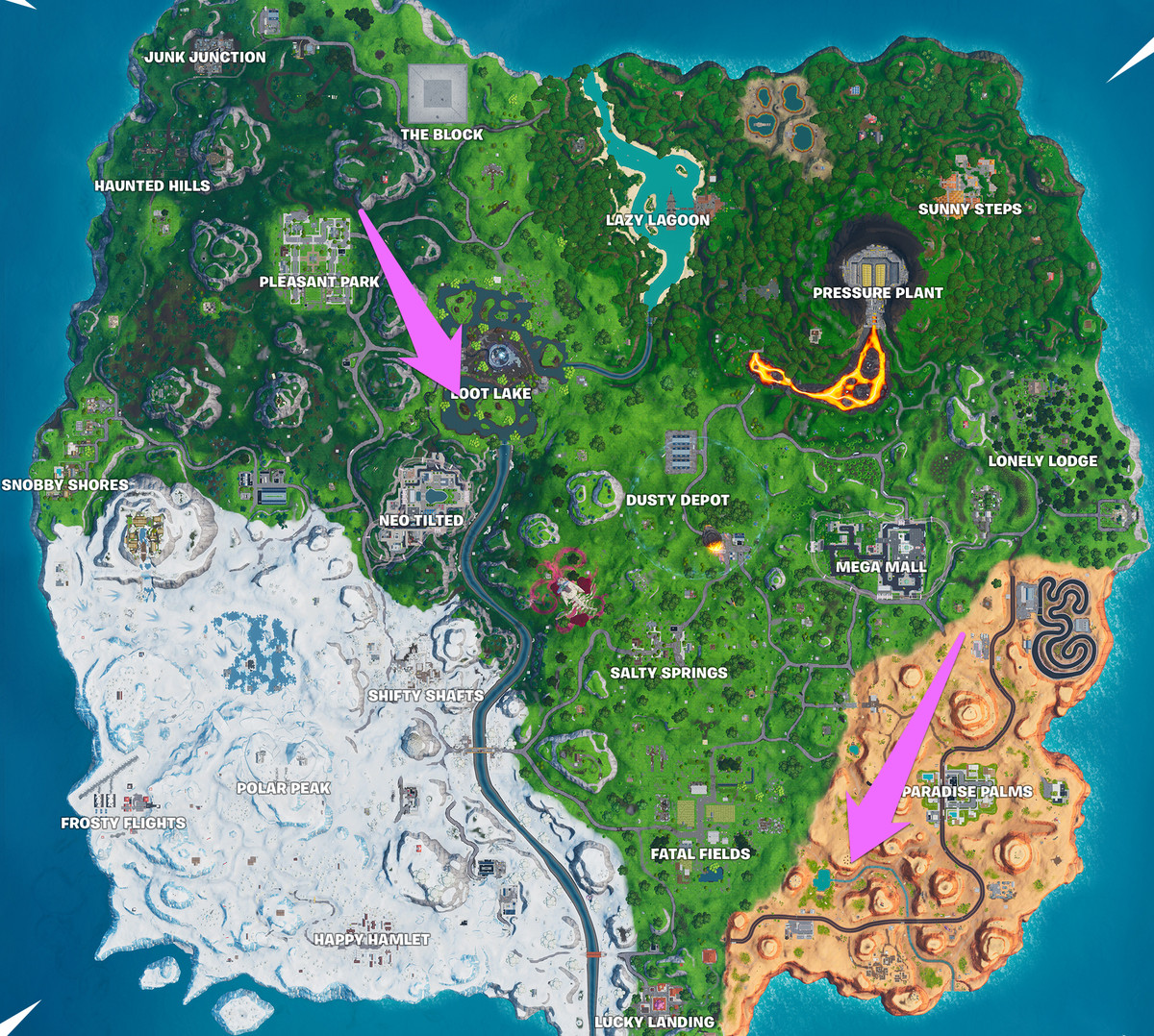 The Fortnite map with arrows pointing to an area inside Loot Lake just south of its center, and an area southwest of Salty Springs