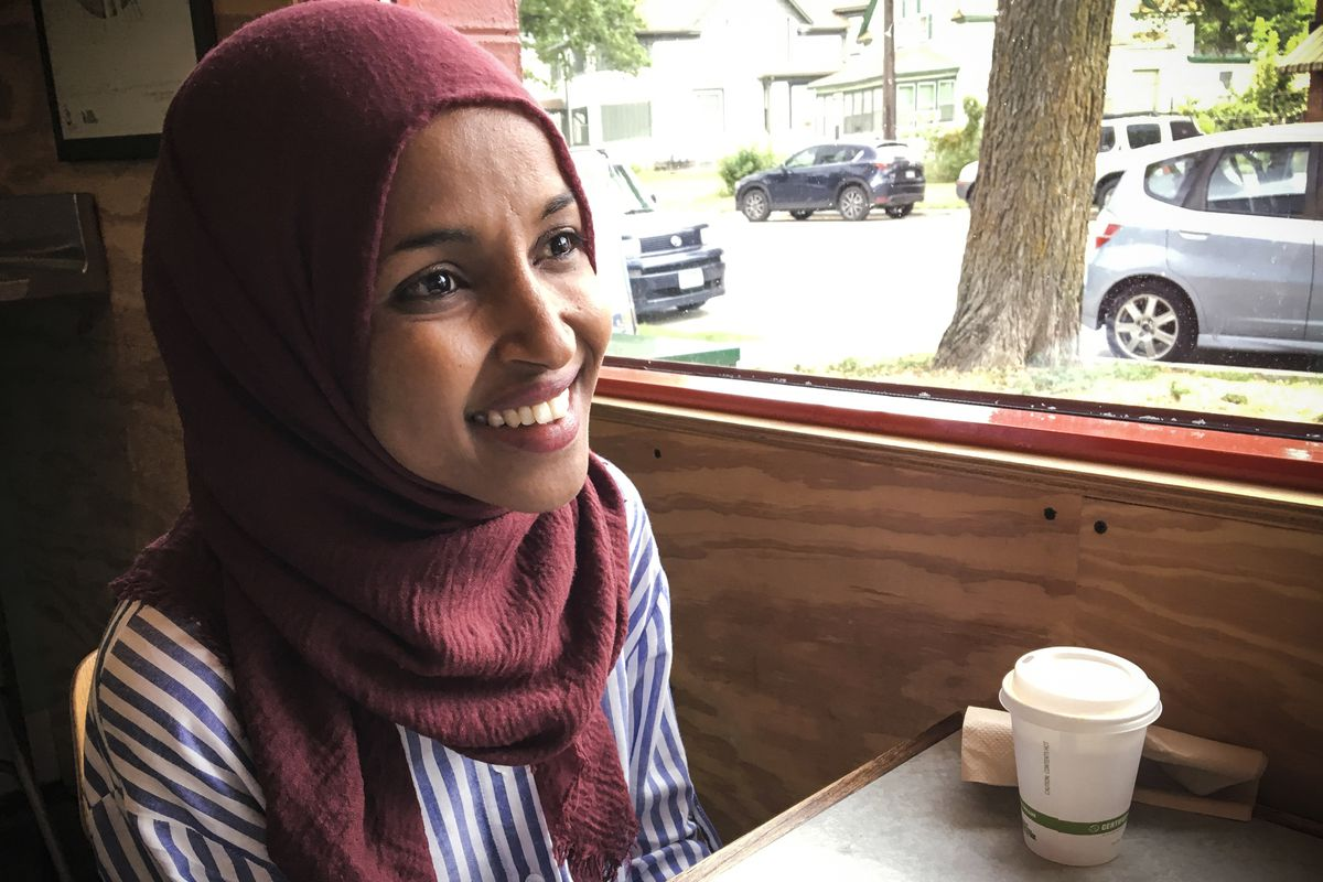 Democrat Ilhan Omar, who could become the first Muslim woman elected to the House of Representatives, in Minneapolis, Minnesota, on August 16, 2018