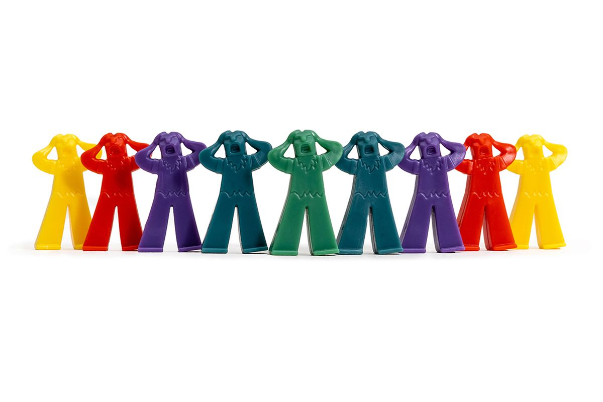 Multicolored meeples wailing.