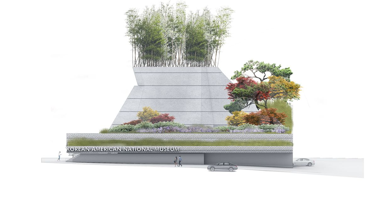 A rendering of the museum, seen from the side, looking kind of like an engineered hill with trees surrounding it and on top of it.