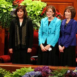 From left, Carole M. Stephens, Linda K. Burton and Linda S. Reeves attend the General Relief Society meeting  at the Conference Center on Temple Square in Salt Lake City on Saturday, Sept. 29, 2012.