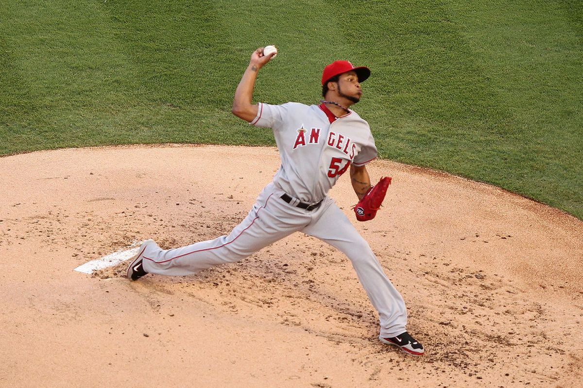 MIAMI GARDENS, FL - JUNE 21:  Ervin Santana #54 of the Los Angeles Angels of Anaheim pitches during a game against the Florida Marlins at Sun Life Stadium on June 21, 2011 in Miami Gardens, Florida.  (Photo by Mike Ehrmann/Getty Images)