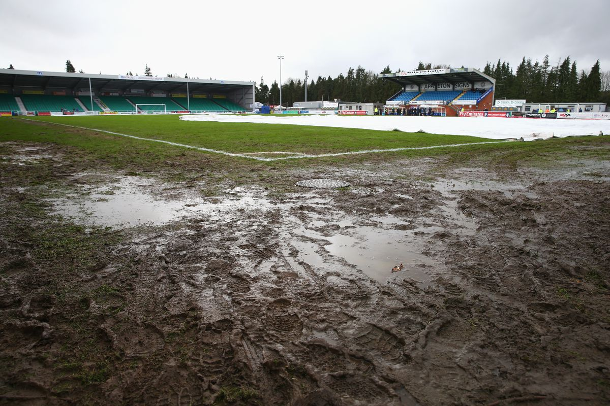 Mud bath: The referee has given the thumbs up, but today's game could be under threat with more rain incoming