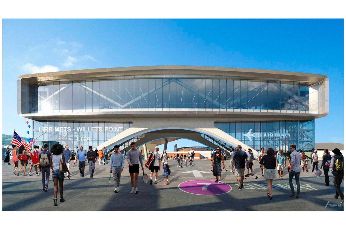 Port Authority renderings of the LaGuardia AirTrain connection at Mets-Willets Point.