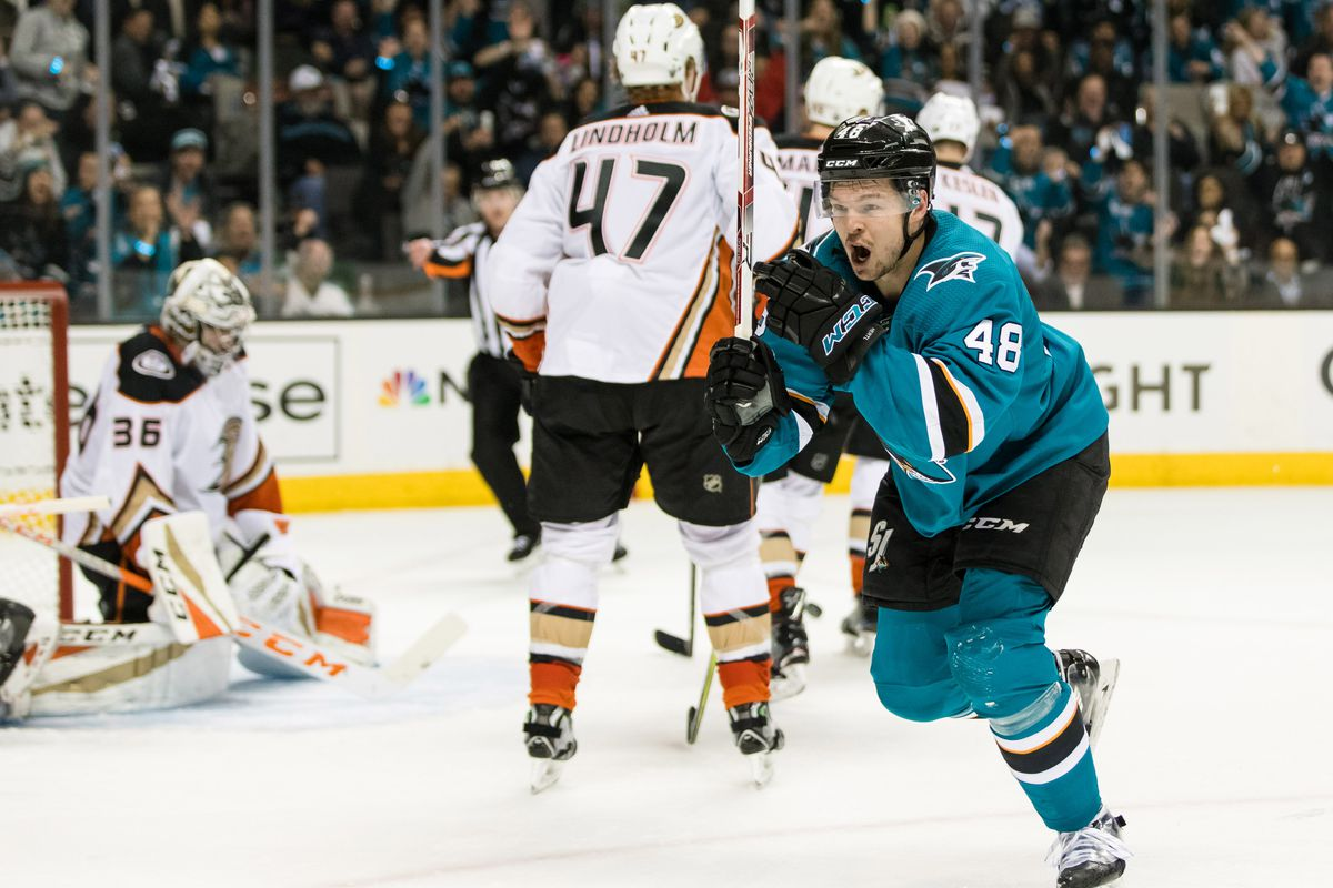 Apr 16, 2018; San Jose, CA, USA; San Jose Sharks center Tomas Hertl (48) reacts after scoring a goal against the Anaheim Ducks in the second period of game three of the first round of the 2018 Stanley Cup Playoffs at SAP Center at San Jose.