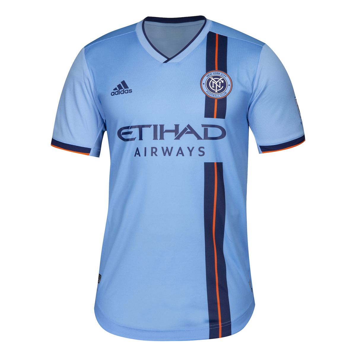 The 2019 New York City FC home jersey — mostly sky blue with a navy blue & orange vertical stripe running down the left-front of the jersey