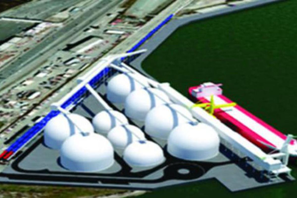 Proposed bulk export terminal in Oakland, California. The site features fully enclosed domes with ample space to store multiple commodities. The projected capacity of the terminal is 9 million metric tons per year.