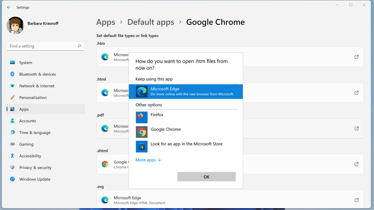 You can change each file type for an appropriate installed app.