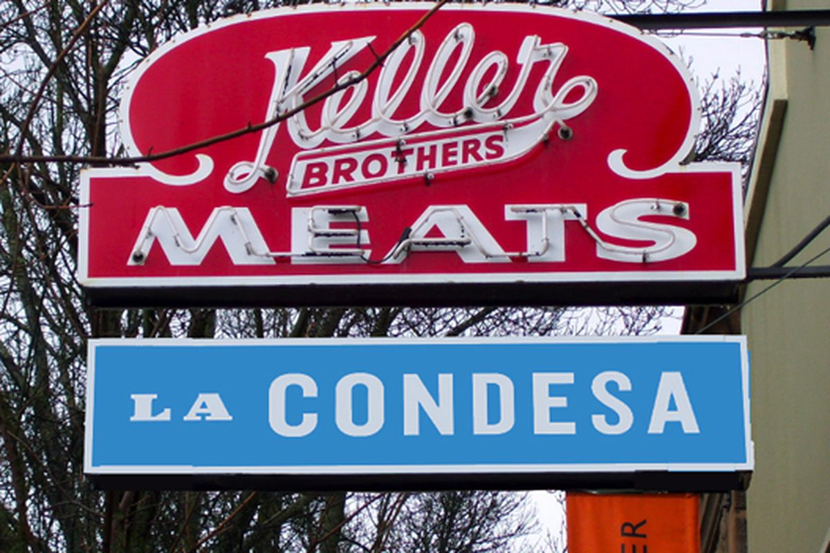 Rendering of the future La Condesa sign, designed in deference to the historic Keller Bros. Meat Market placard.