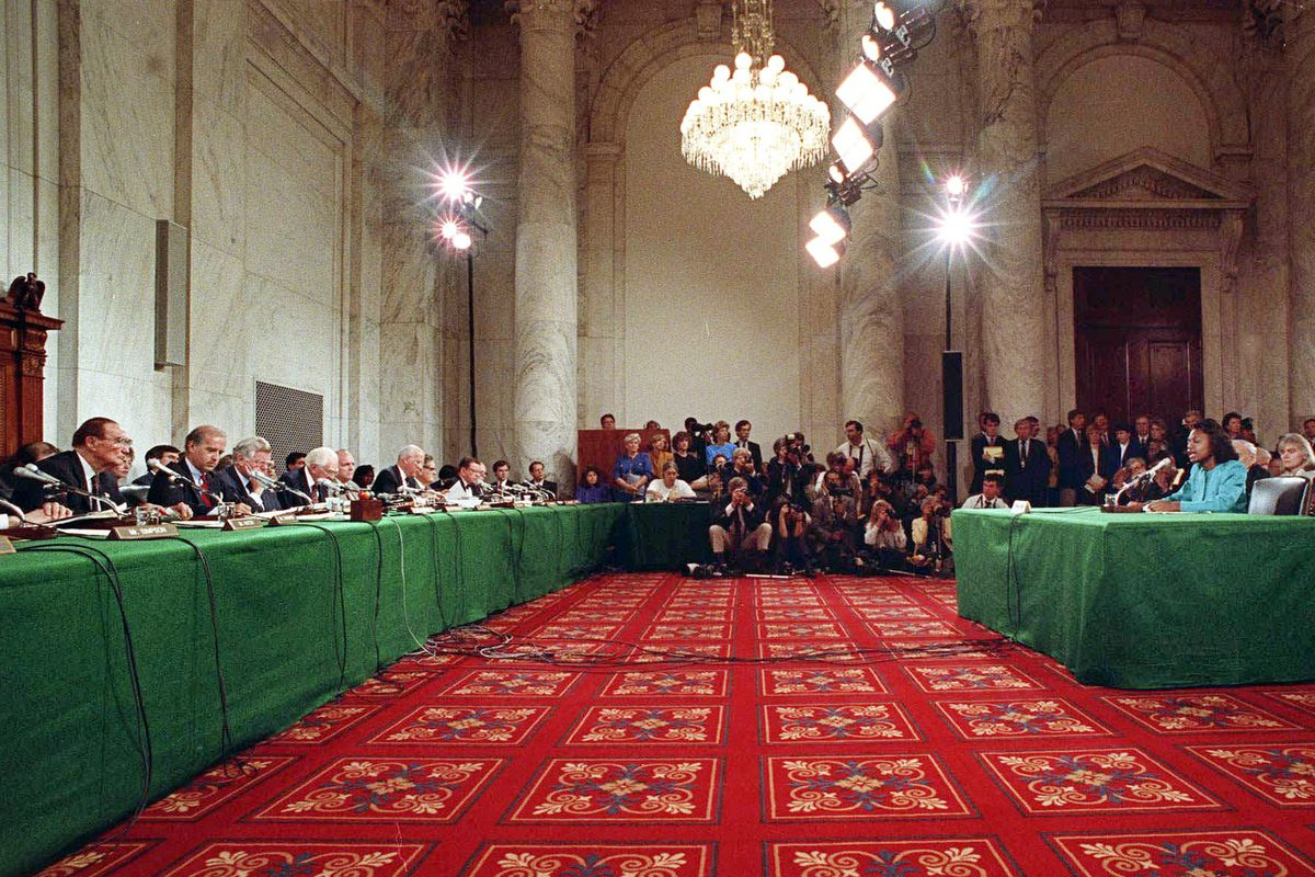 Anita Hill testified in the Caucus room of the Senate Office Building on Capitol Hill on October 11, 1991.
