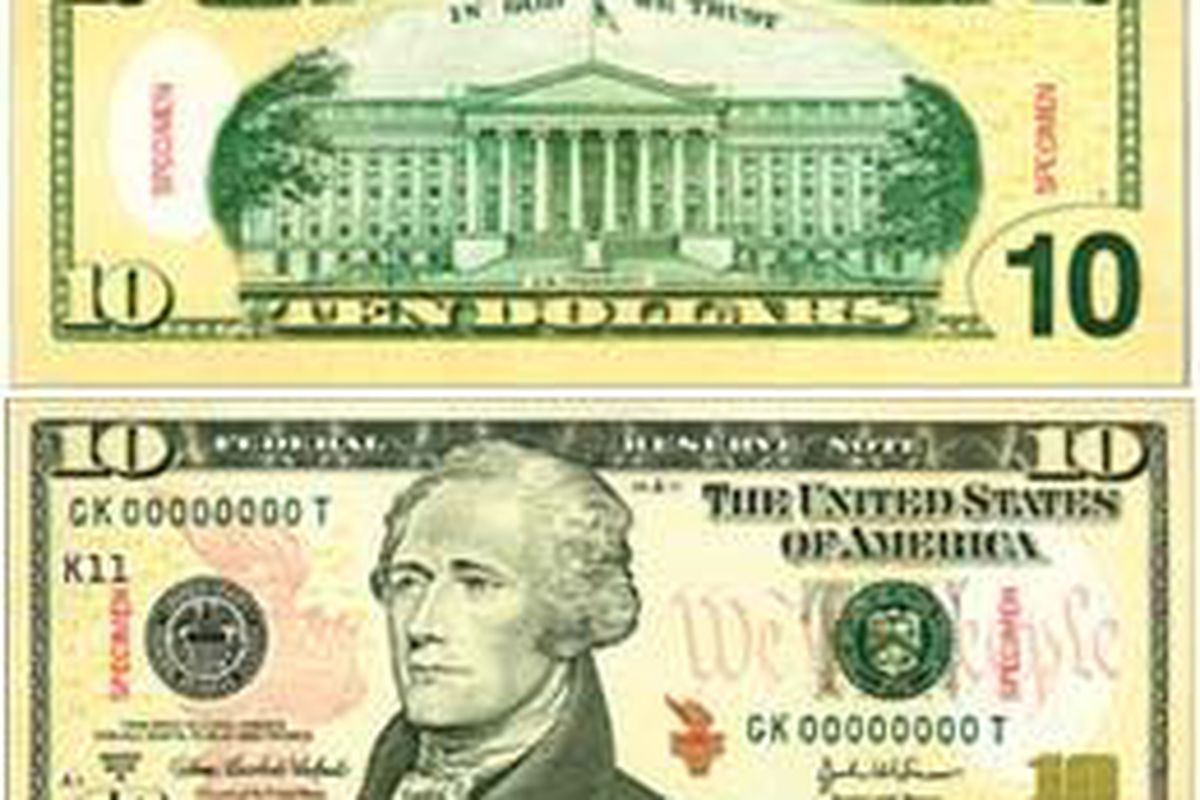 The newly designed $10 bill is shown in a photograph released by the U.S. Treasury. The $10 note became the third bill denomination to be jazzed up with colors as part of the U.S. government's effort to thwart tech-savvy counterfeiters.