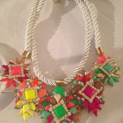 Rope and plastic stone necklace, $25