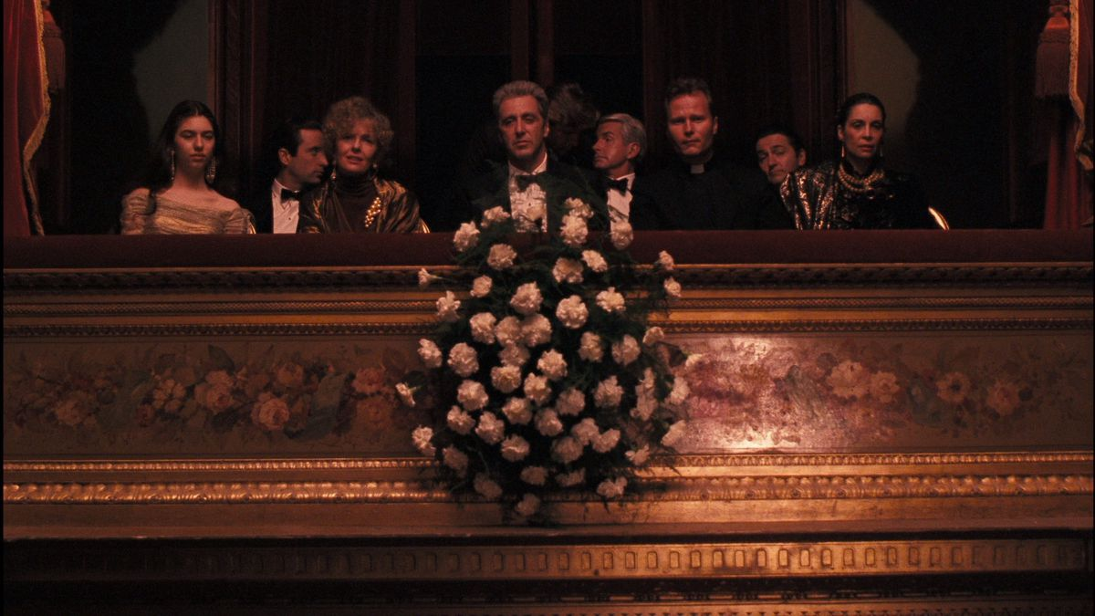 Michael Corleone and his family watch the opera from box seats in Godfather 3