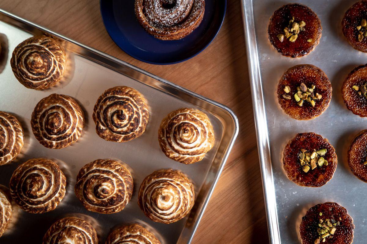 Bourke Street Bakery cinnamon rolls and tart