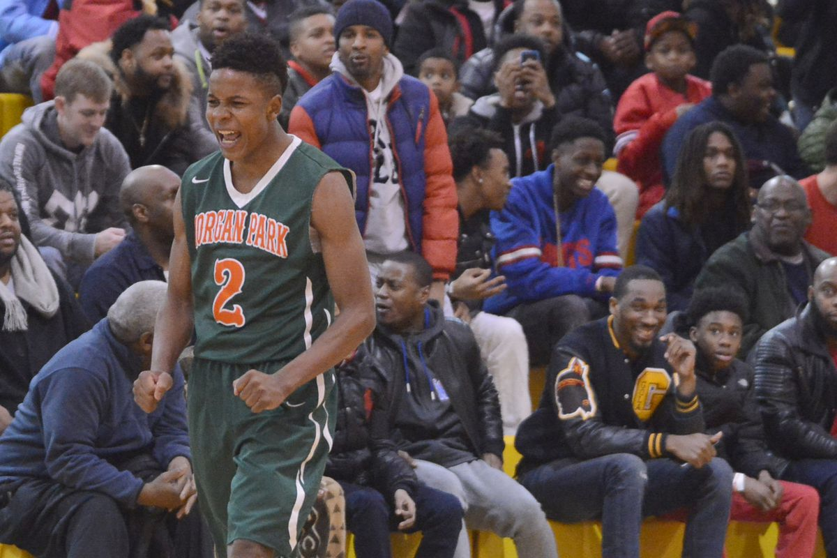 Morgan Park's Charlie Moore (2) celebrates after dropping a three-pointer against North Lawndale.