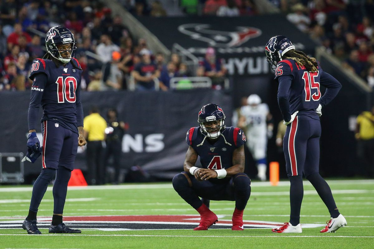 Houston Texans wide receiver DeAndre Hopkins and quarterback Deshaun Watson and wide receiver Will Fuller on the field during the game against the Indianapolis Colts at NRG Stadium.