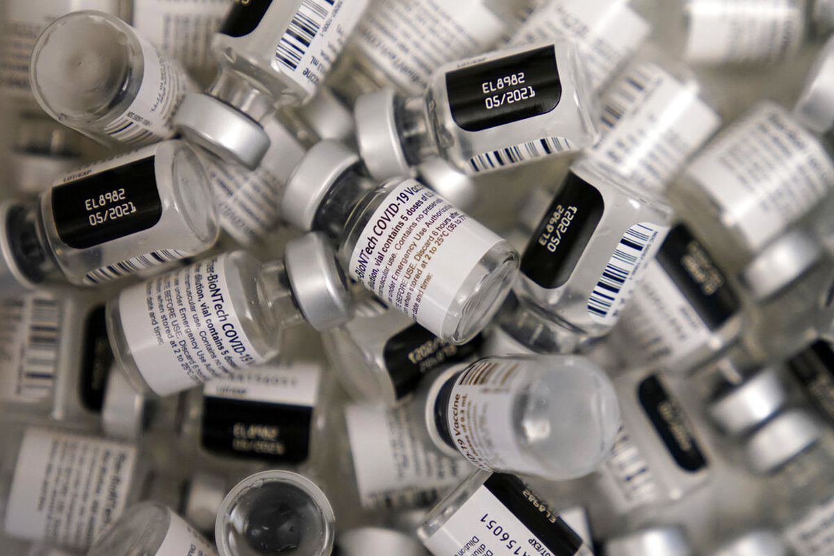 Used vials of the Pfizer-BioNTech COVID-19 vaccine.