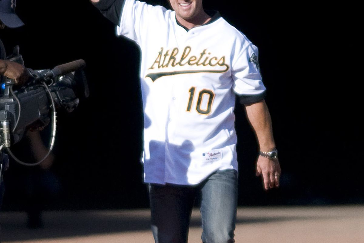 """Scott """"Hatty-berg"""" was among many former A's who got the red carpet treatment tonight."""
