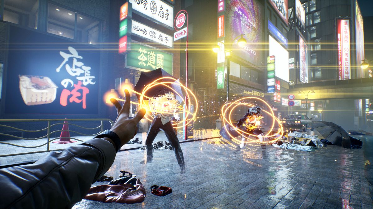 The player fires magic beams at enemies in a screenshot from GhostWire: Tokyo