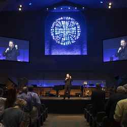 Pastor of Worship Ministries John Bolin leads worshippers during a service at Kingsland Baptist Church in Katy, Texas, on Sunday, March 28, 2021.