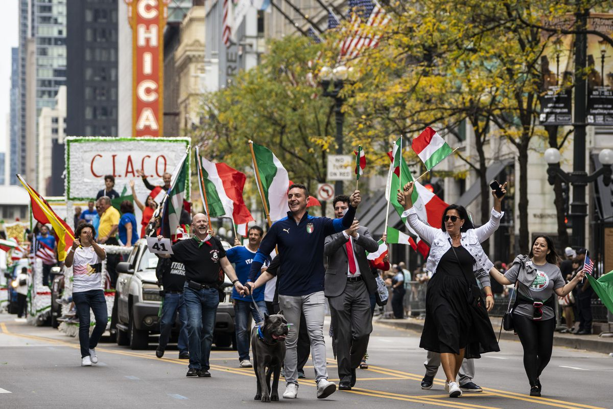 The Columbus Day Parade travels south down State Street in the Loop, Monday afternoon, Oct. 11, 2021.