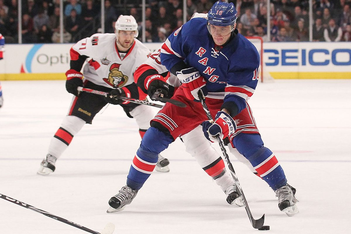 NEW YORK, NY - JANUARY 12: Marian Gaborik #10  of the New York Rangers skates with the puck against the Ottawa Senators at Madison Square Garden on January 12, 2012 in New York City.  (Photo by Nick Laham/Getty Images)