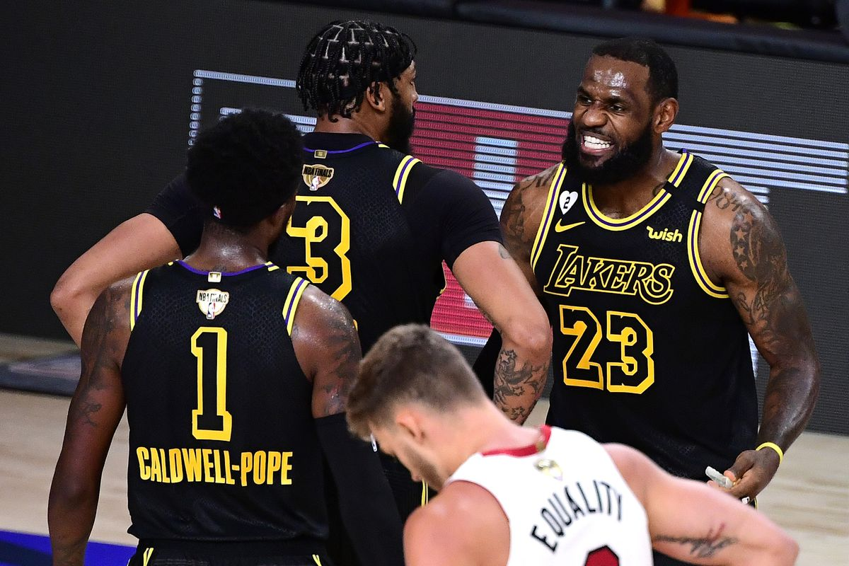LeBron James of the Los Angeles Lakers reacts during the second half against the Miami Heat in Game Two of the 2020 NBA Finals at AdventHealth Arena at ESPN Wide World Of Sports Complex on October 02, 2020 in Lake Buena Vista, Florida.
