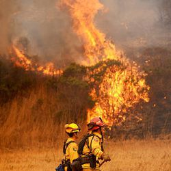 Firefighters battle a wildfire as it threatens to jump a road in unincorporated Santa Cruz County, Calif., on Friday.