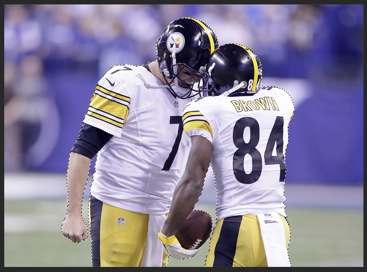 """The players Ben Roethlisberger and Antonio Brown have been selected with the """"quick selection tool"""" inside PhotoShop."""