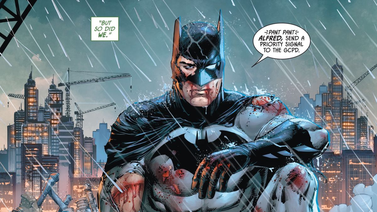 A bruised and bloodied Batman sits on a Gotham City rooftop and radios Alfred, in Batman #86, DC Comics (2020).