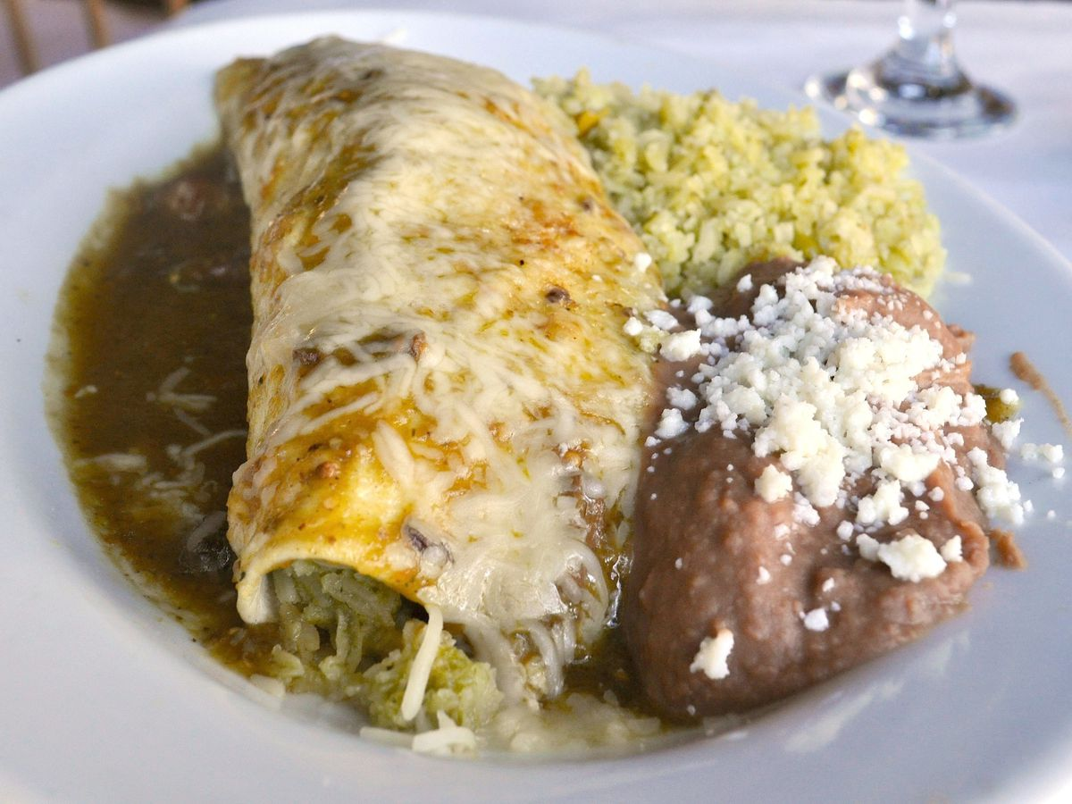 Burrito with green chile, rice, and beans