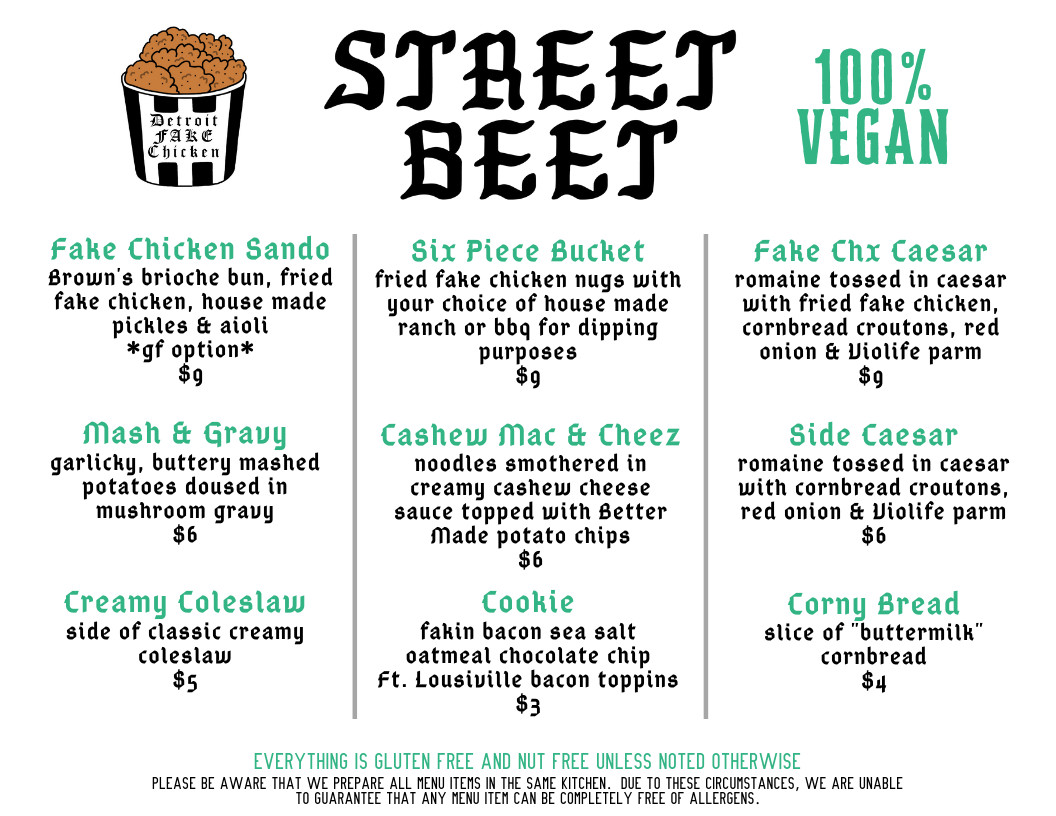 A menu with a cartoon bucket of chicken and the word's street beet printed on top next to a 100% Vegan label